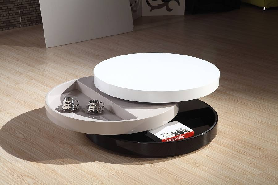 three layer rotatable tea table