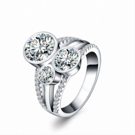 New arrival bridal silver handmade jewelry with clear three cubic zirconia stones