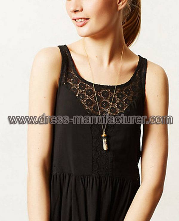 2015 New Fashion Black Lace Chiffon Long Dress for Women