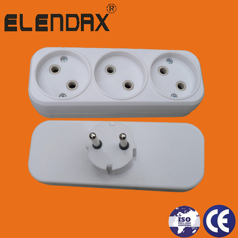 EU 2 Pin Plug to 3 Socket Outlet(P8803)