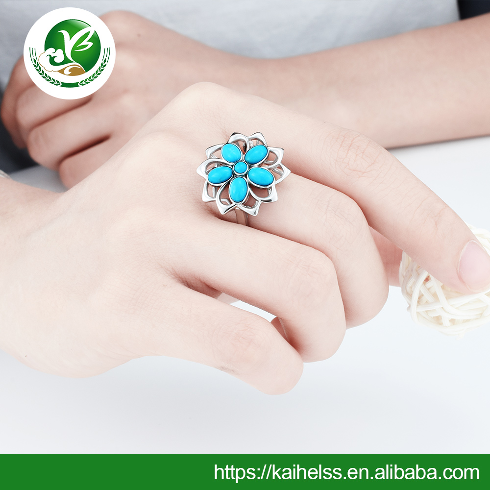 Turquoise Stone Pearl Strings Cocktail Jewelry Ring wholesale