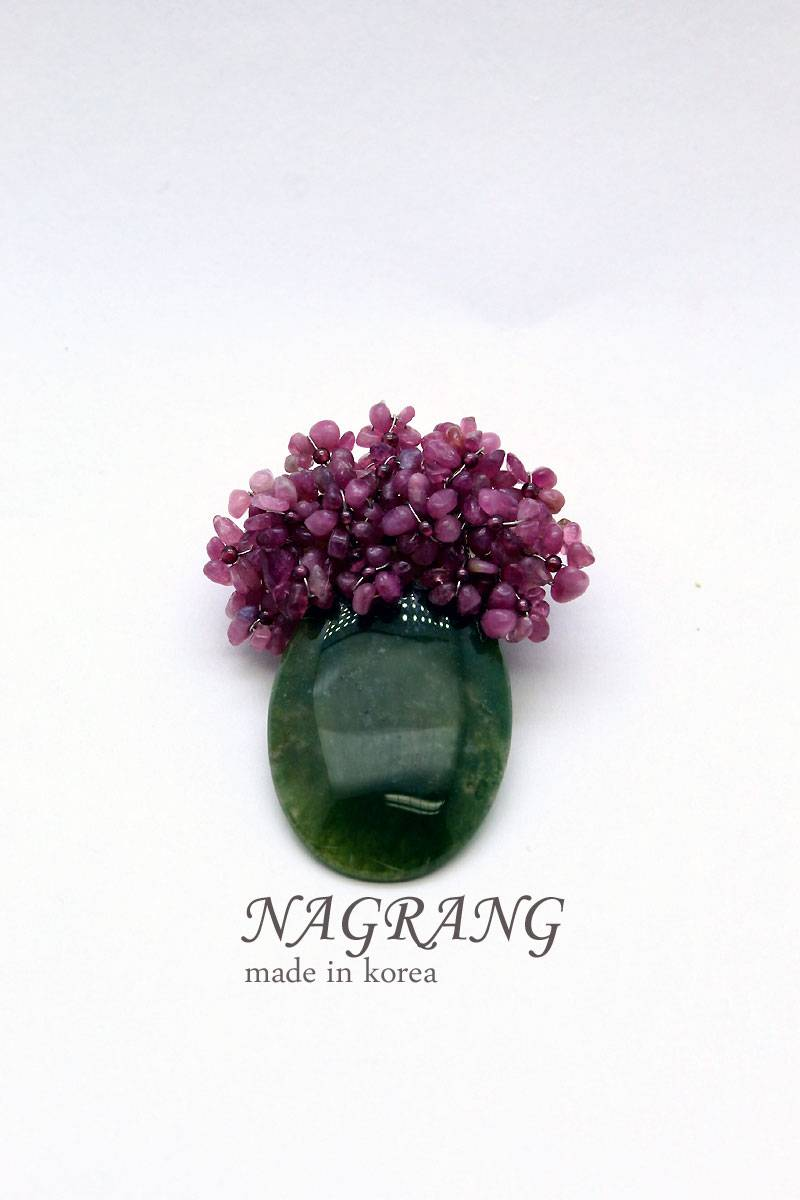 Multi-color tourmaline brooch with necklace