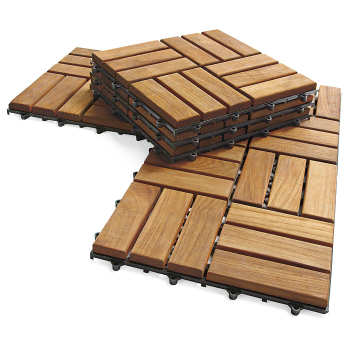 Outdoor deck tiles, garden solid teak wood flooring with plastic base