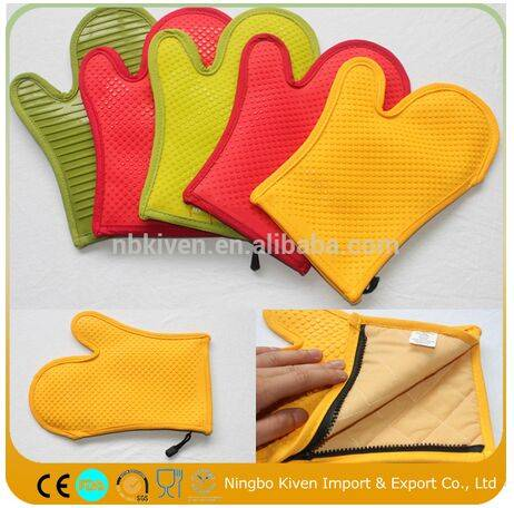 Heat Resistant Silicone Oven Mitts BBQ Gloves With Cotton Pad