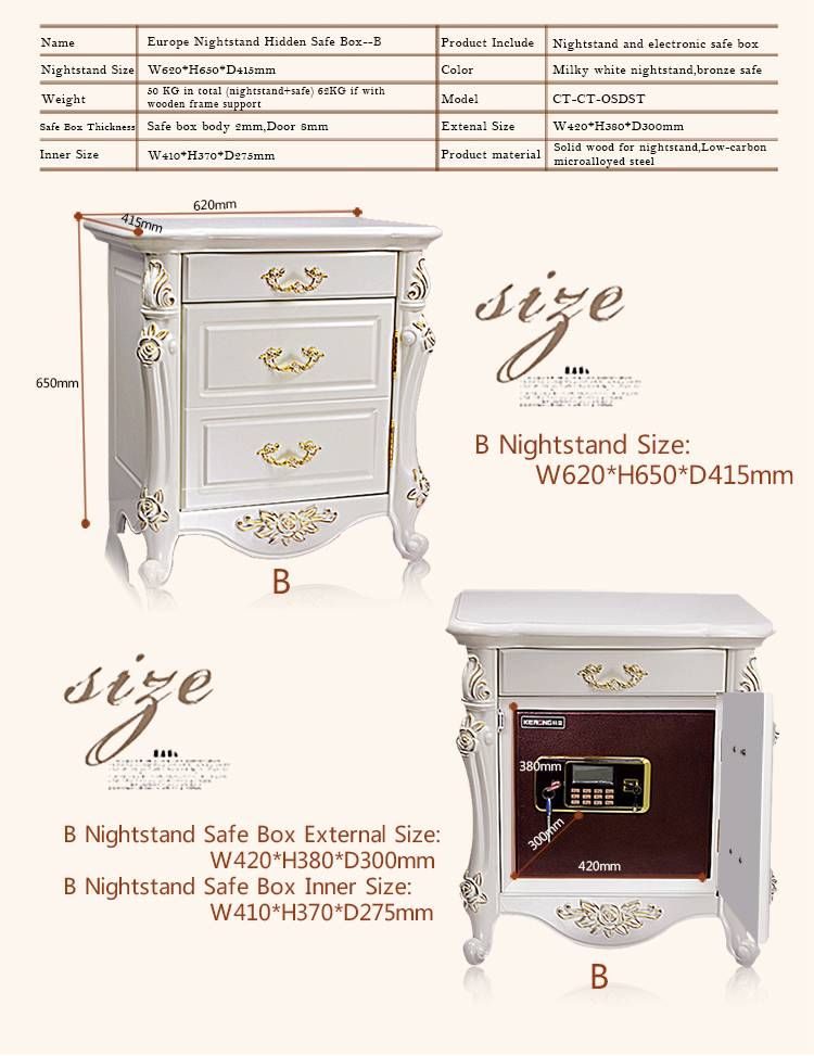 Nightstand with a hidden safe box