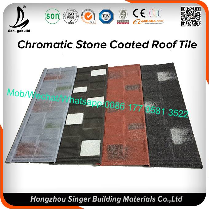 Galvanized zinc roof material stone coated metal roofing tiles for africa house