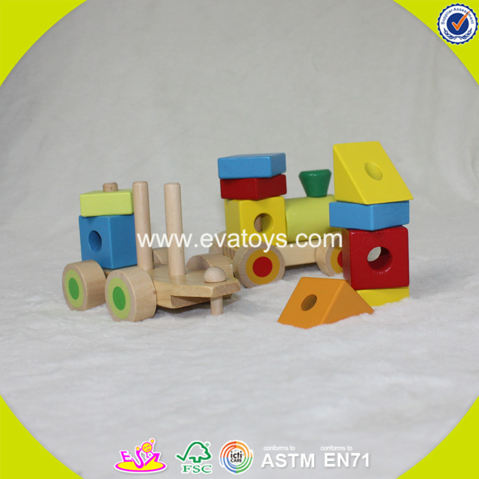 2017 wholesale baby wooden train block funny kids new fashion children W04A261