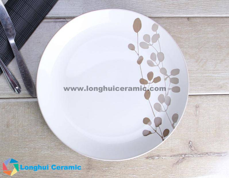 10.5'' grass leaves handprinted ceramic round plate