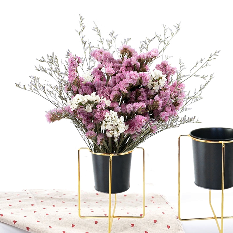 metal flower stand with gold flower pot