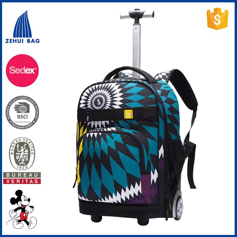 2016 waterproof wheeled backpack kids school trolley bag