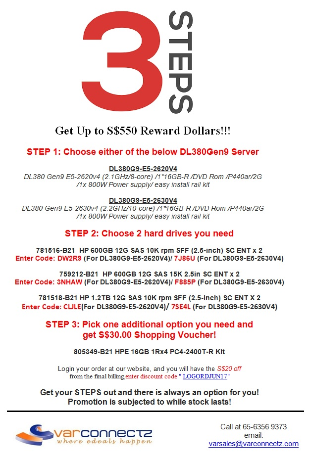 HP Servers Promotion - 3 Steps to Win S$550 Reward Dollars