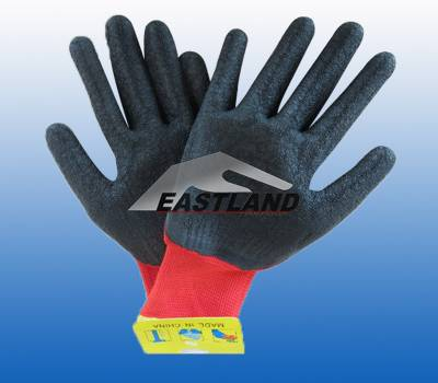 Nylon Work Safety Latex Coated Gloves Crinkly