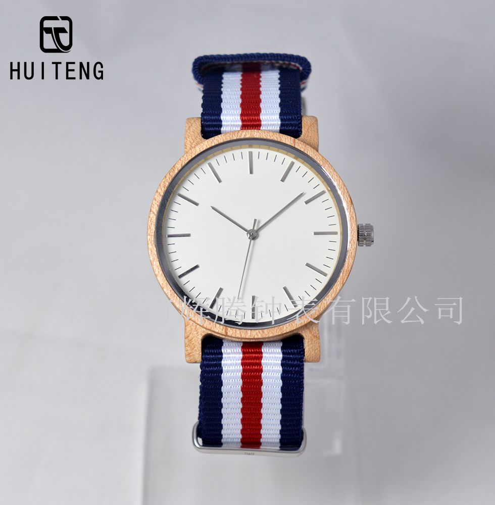 2017 canvas strap bamboo watch fashion watch for European market wooden watch with nylon strap