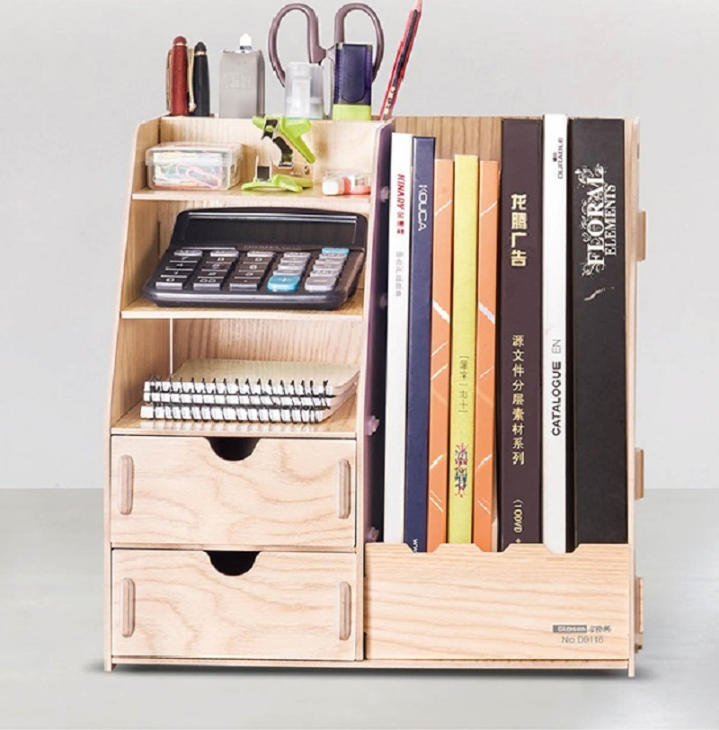 Glosen Wooden Color DIY Office Storage Box with Magazine Holder D9116