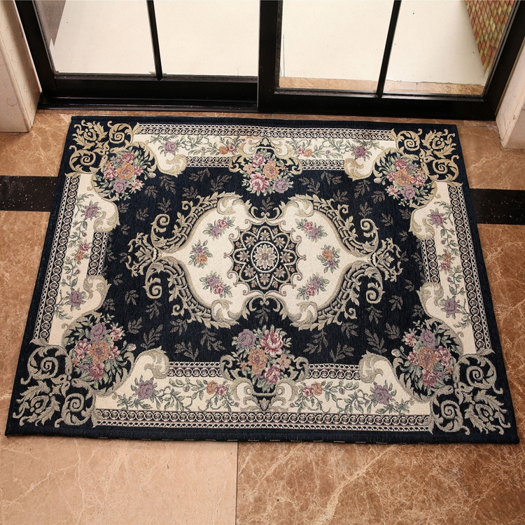 Blue 100 % Polyester Machine Jacquard Carpet For Doors