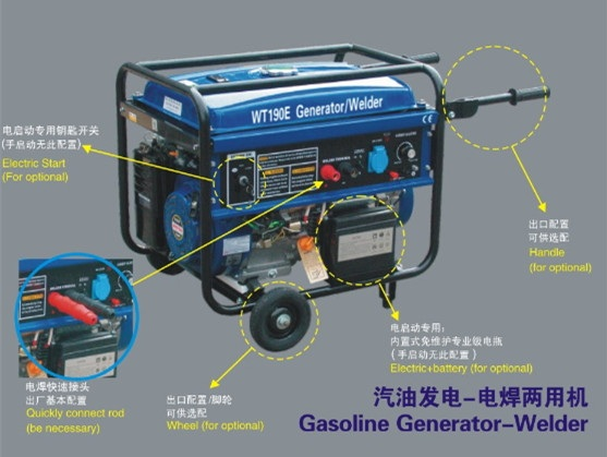 3.5KW Gasoline generator-welder with recoil start+wheel and handles