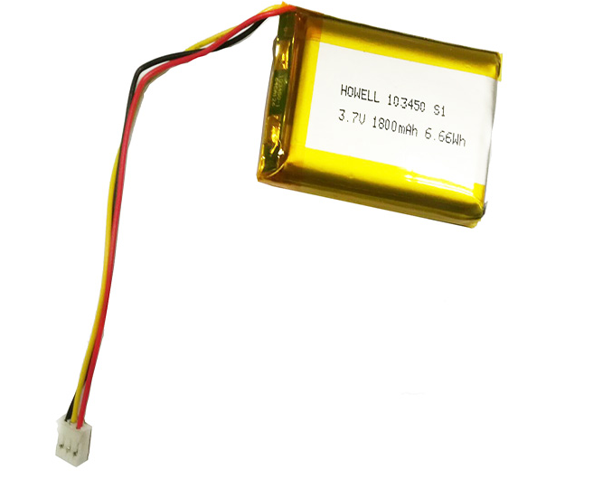 High quality Custom howell 1800mAh 103450 Li ion prismatic battery 3.7v lp103450 li polymer battery