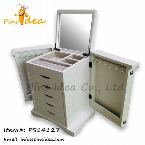 Wash White Wooden Jewelry Cabinet with Necklace Hooks Ring Rolls Velvet Lining Great Gift for Wemen