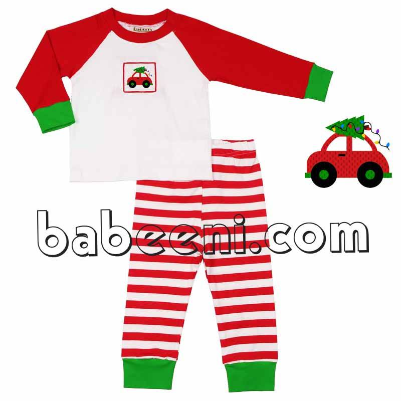 Cute X-mas car smocked knit loungewear - KN 124