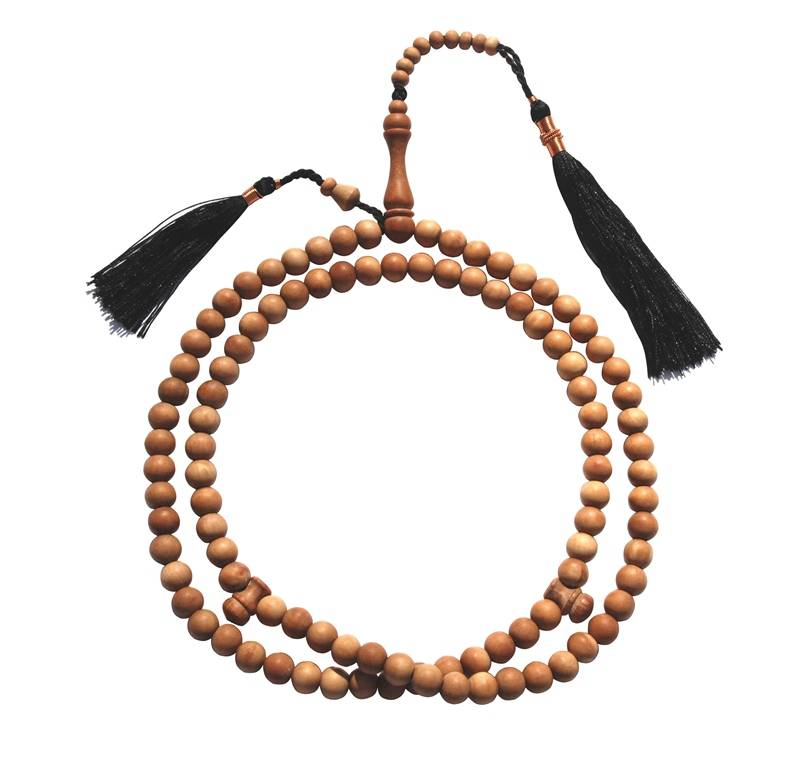 Sandalwood Tasbih with Copper Decorated Black Tassels