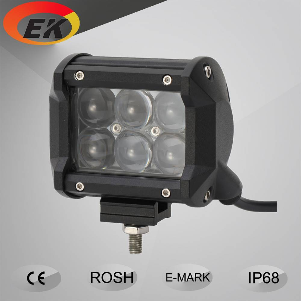 Hot Sell EK High Quality 3W Dual Row 4D Lens 4inch 18w LED Light Bar for Offroad Trucks, Jeep, SUV