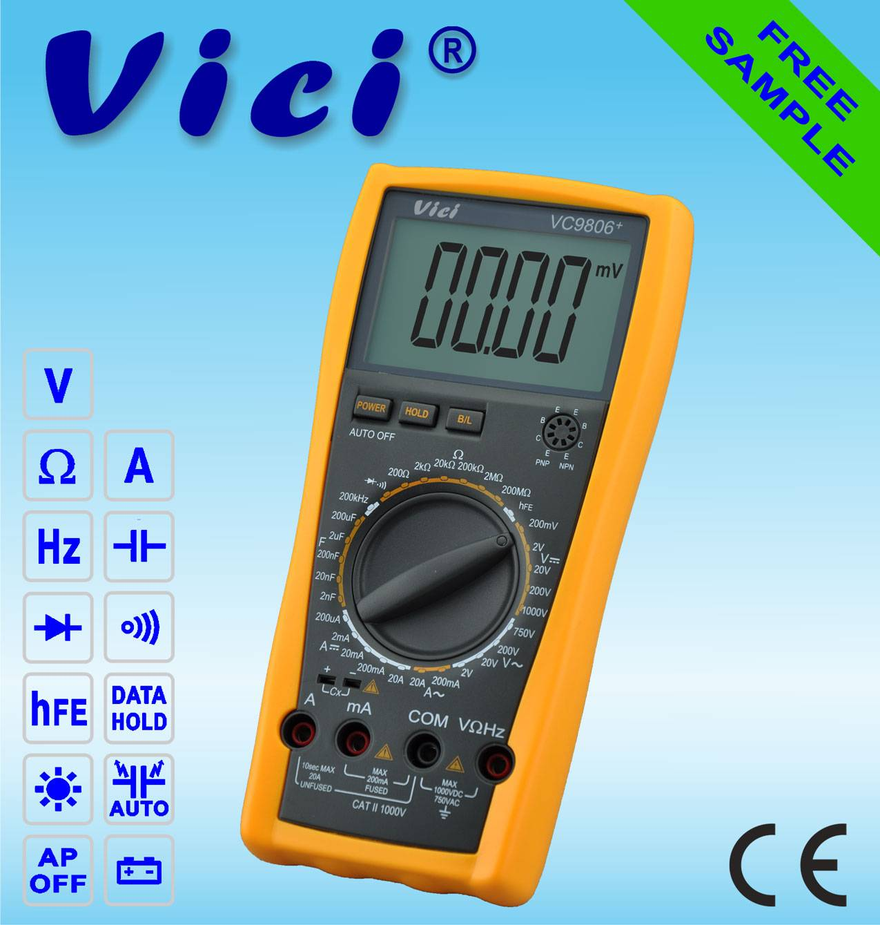 VC9806+  4 1/2  Portable digital multimeter