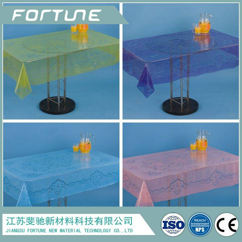 pvc table cloth crystal clear color printed
