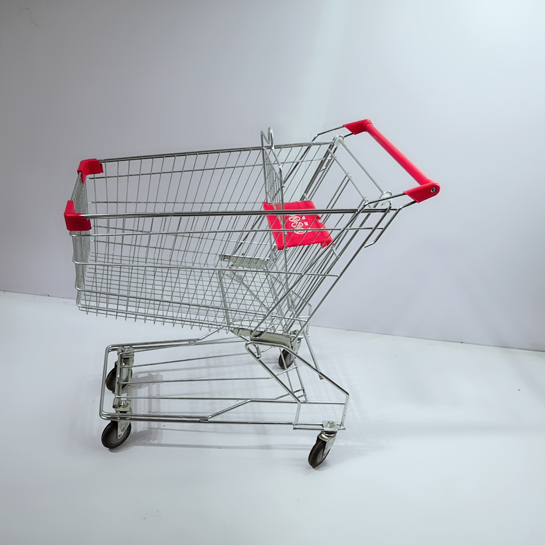 Cheap Smart Stainless Steel 4 Wheels Shopping Trolley with Child Seat for Supermarket