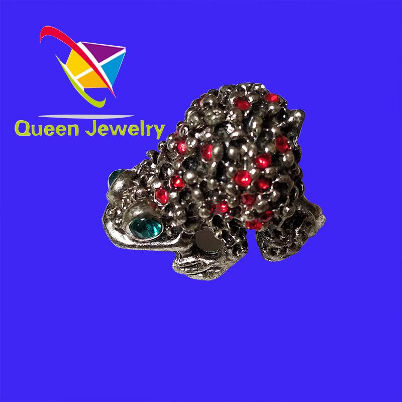 Classic Fashion Animal Vintage Ring shiny red rhinestone Frog prince Ring Size Q