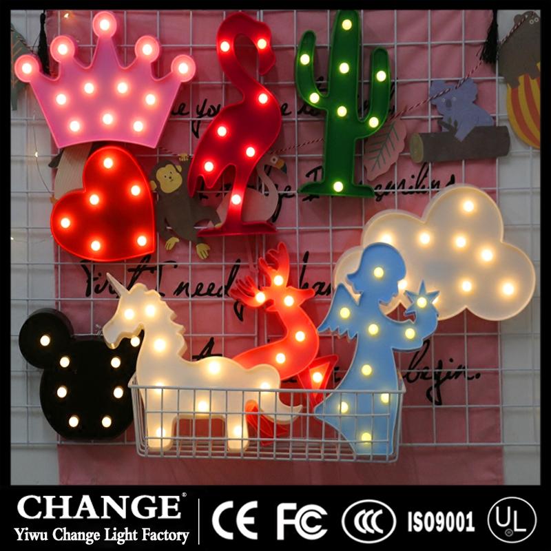 3D Flamingo Pineapple Cactus Unicorn LED Night Lamp Lights for Christmas Party Wedding Decor Gifts