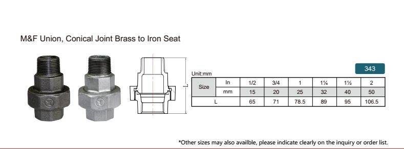 China malleable iron pipe fitting M&F Union conical joint brass to iron seat-343 with high quality a