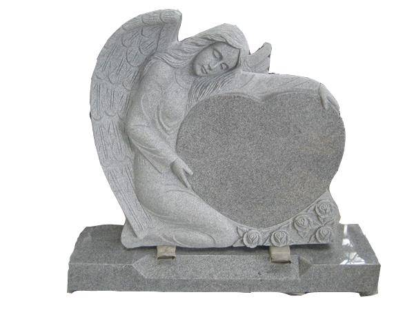 G603 gray angel and heart tombstone