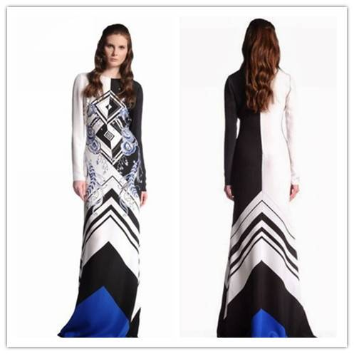 Long Sleeve Full Length Fancy Printed Maxi Dress Women