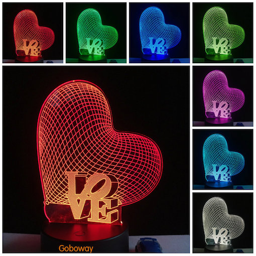 Valentine's Day Creative Gifts 3D LED Night Lights Romantic Ring Roses Heart Balloon Touch Table Lam