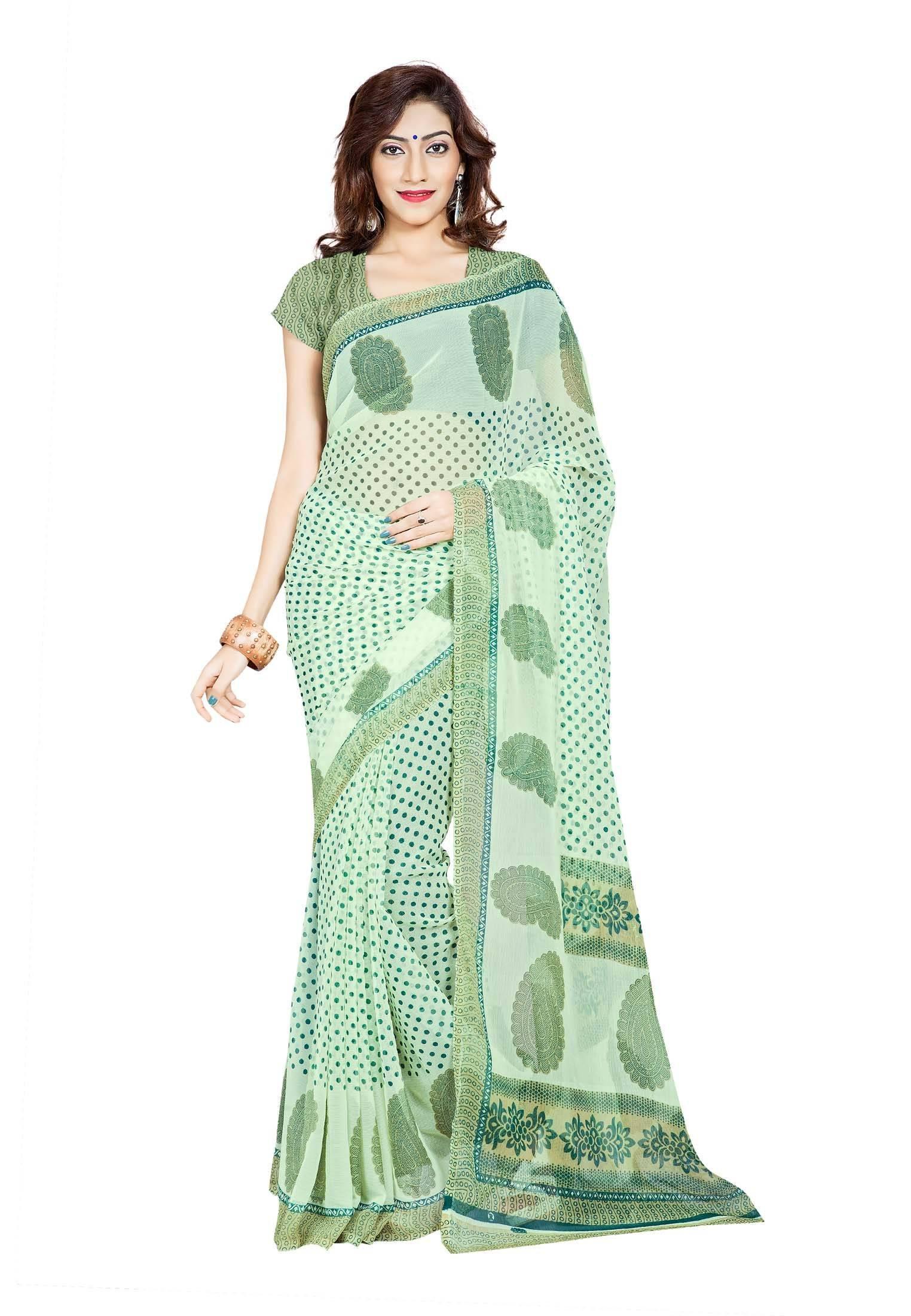 Ambaji Casual Wear Sea Green Colored Printed Chiffon Saree/Sari