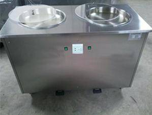 Roll ice cream machine with double pans