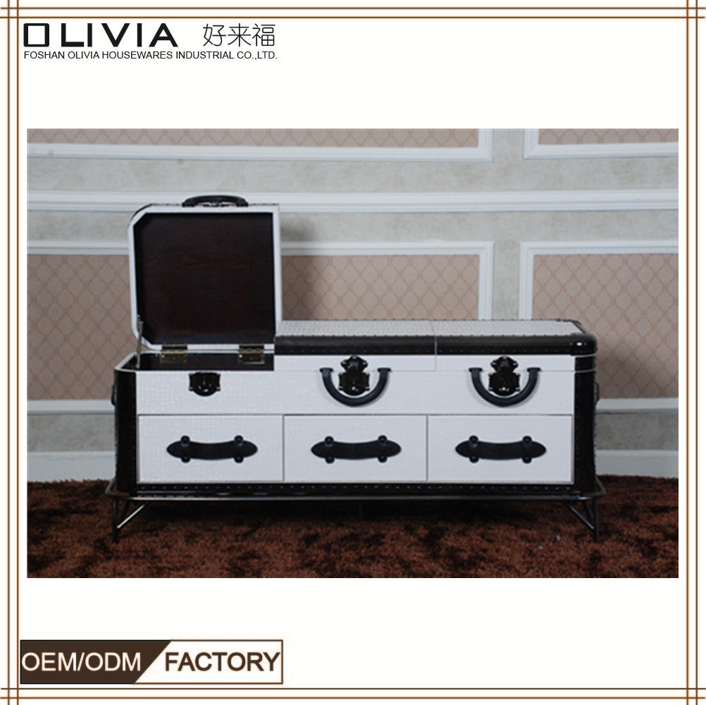 Homedecor furniture furnishing TV cabinet white color leather X659