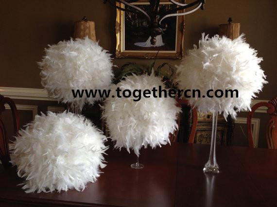 desk center decor feather ball for wedding