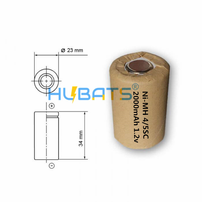 Hubats Ni-MH 4/5SC 2000mAh 1.2v 10C discharge rate Rechargeable battery for Power tools
