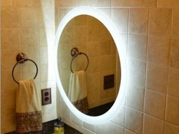 MGONZ fashion circle wall bathroom mirror led lighting anti-fog mirror