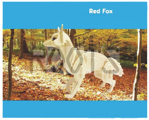 Fox-3D wooden puzzles, wooden construction kit,3d wooden models, 3d puzzle