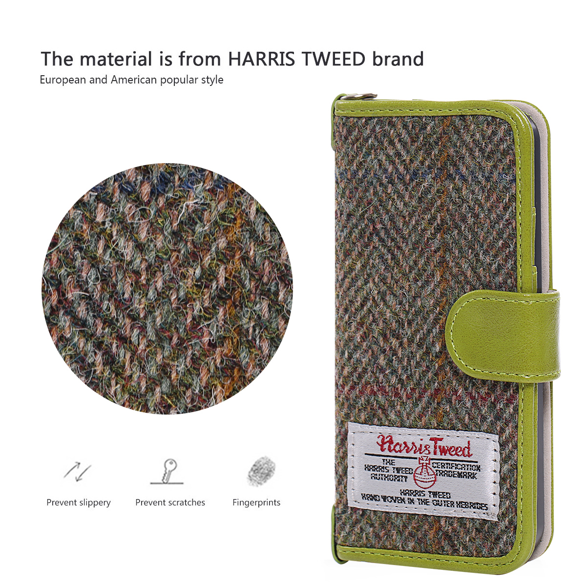 Harris Tweed Wallet Case,Non-Slip, Retro Magnetic Flip Cover Case for iPhone 5