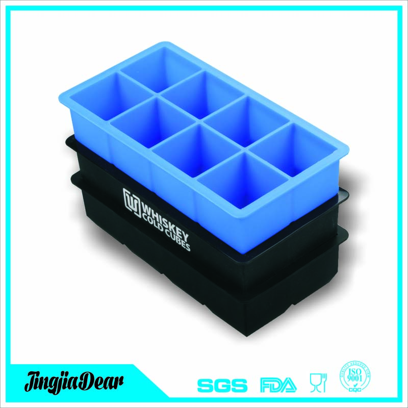 8-Cavity Flexible Silicone Large Ice Cube Trays, 2-inch Cubes for Slow Melt and Less Drink Dilution