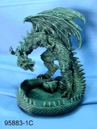 Polyresin dragon figurine / candleholder