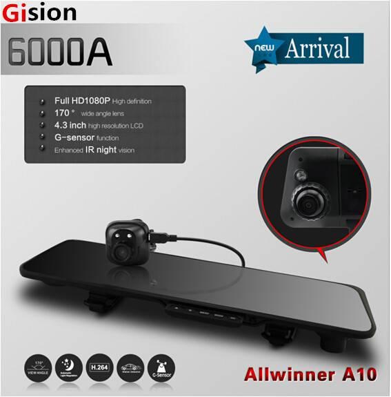 Free shipping 6000A Car Rearview Mirror Car Camera DVR Recorder Full HD 1080P Car DVRs Dual Lens G-s