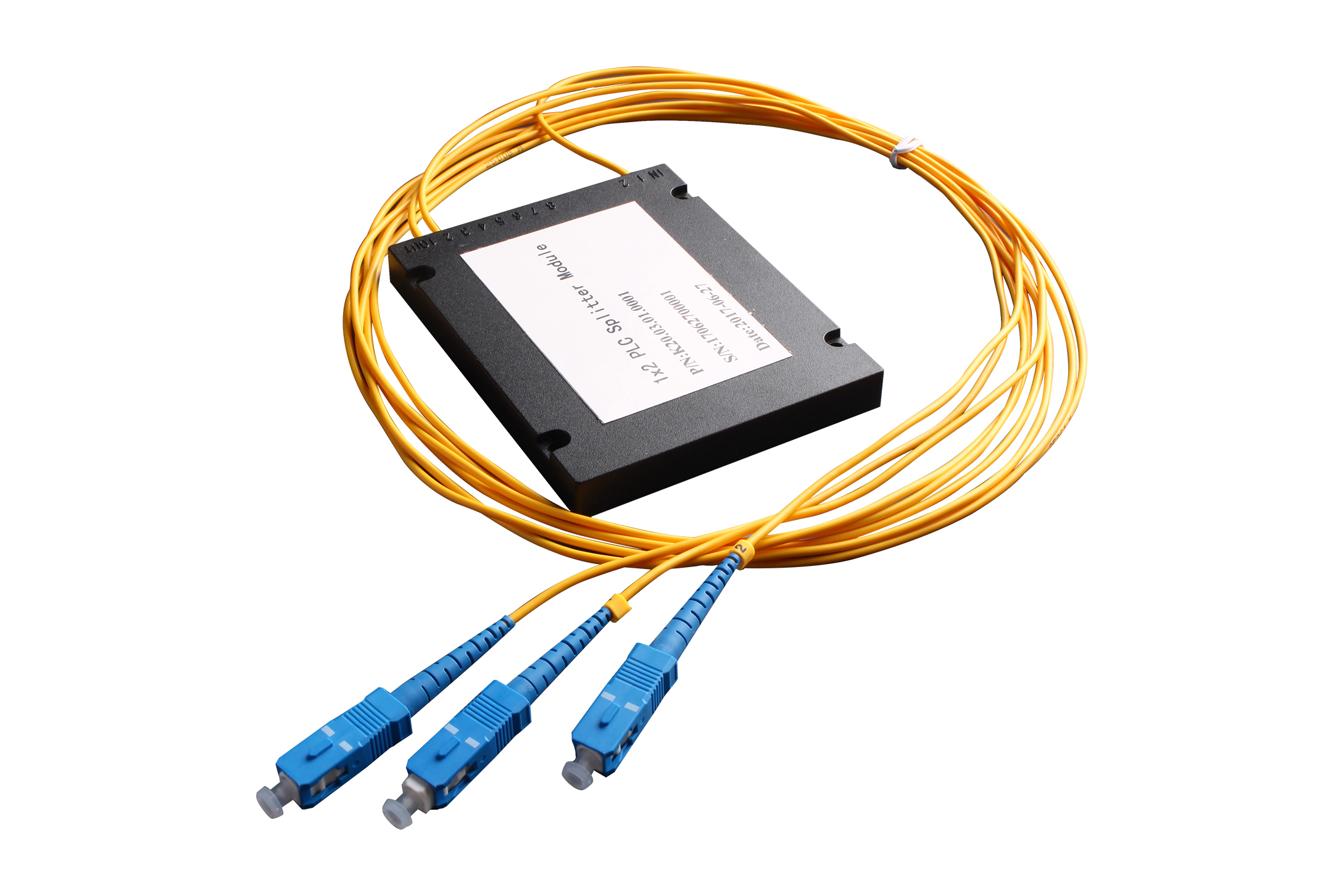 With output fiber and connector for FTTX 1x2 Box Type PLC Splitter