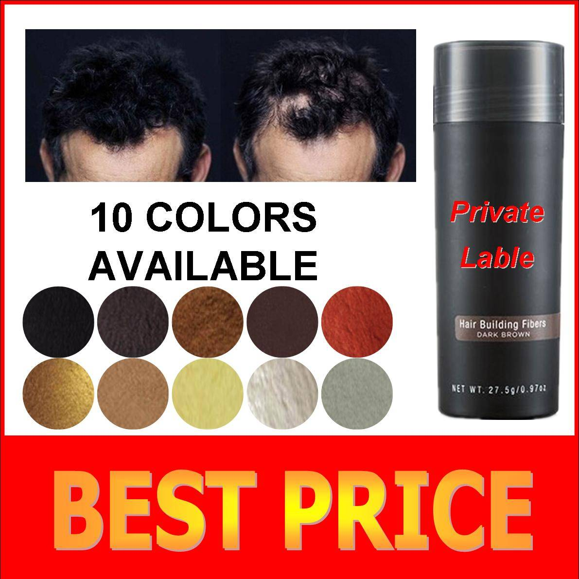 Keratin hair treatment private label hair building fiber for small MOQ 10-30g are availa..
