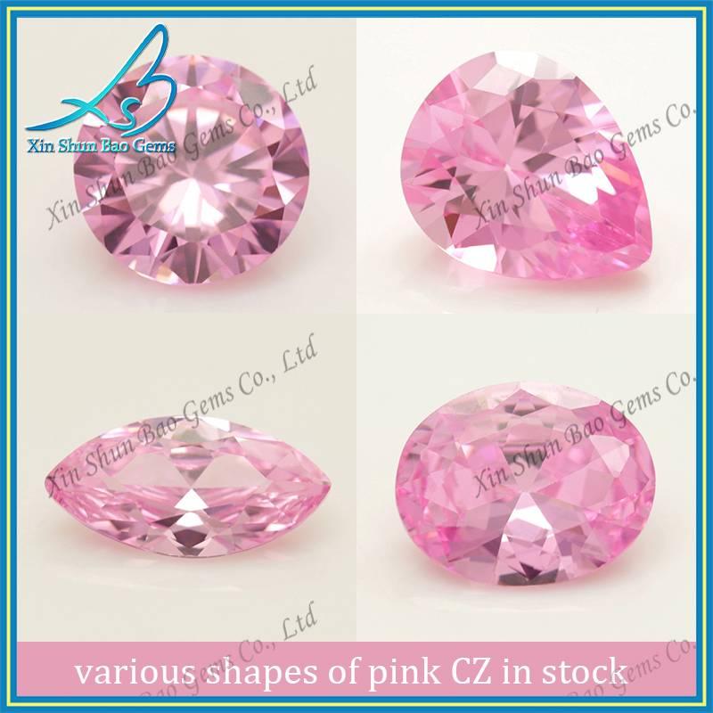 Various shape factory sale pink colored cz stones