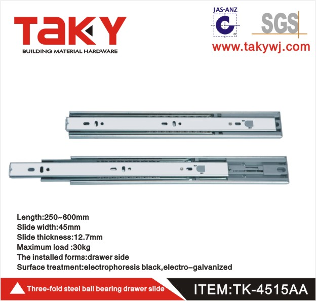 TK-4515 three fold soft close rebound touch open drawer slide