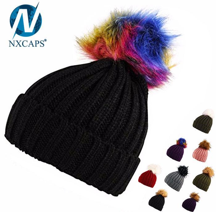100 acrylic rib knit beanie fur pom hat faux fur bobble winter cap